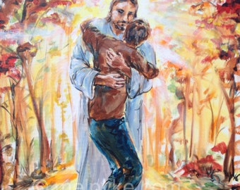 Luke 17 original Bible painting on canvas, Jesus Christ embracing leper that was healed, path with autumn leaves warm colours, Christian art