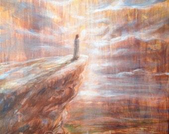 The Temptation of Jesus original acrylic painting on canvas, custom painted portrait of Christ, Bible art