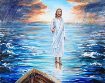 "Walking on Water original 24x24"" painting of Jesus"