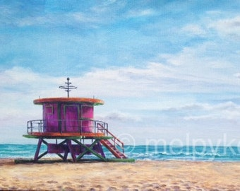 Lifeguard Stand in South Beach Miami Florida original ocean and sky seascape with architecture painting on canvas