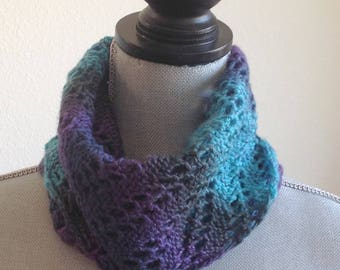 Silk and Wool Knit Neck Warmer, Knit Scarf, Knit Cowl
