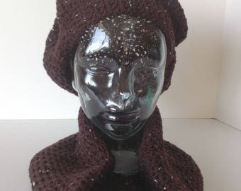 Crocheted Dark Brown Slouchy Hat with Sparkle