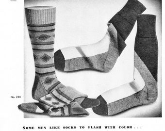 Two Colorful Men's Knit Vintage Sock Patterns from Beehive Hand Knits, PDF Pattern