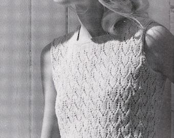 Lace Knit Sleeveless Top, Vintage Pattern from Bernat Sun Season Fashions, PDF Pattern