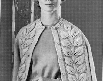Woman's Cardigan Leaf Pattern Sweater Pattern, From Vintage Fleisher Pattern,  PDF Pattern