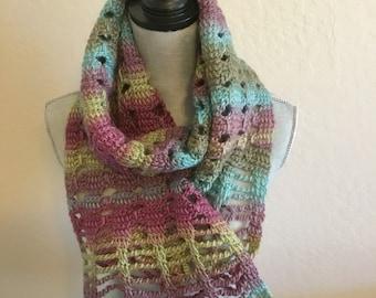 Tunisian Crochet Wrap In Colorful Acrylic Yarn