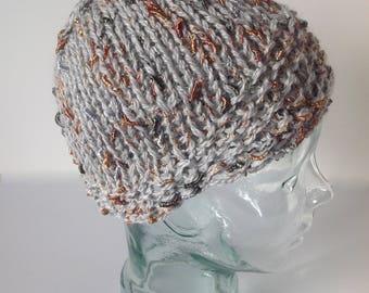 Wool, Alpaca & Silk Light Gray Knit Hat with Flecks of Orange and Dark Gray Throughout.