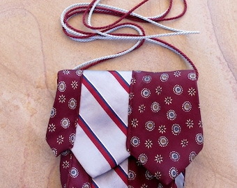 Small Cross Body Bag Made From Recycled Silk Ties in Gray & Burgundy
