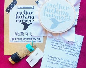 DIY Embroidery Kit Motherf*cking Mermaid