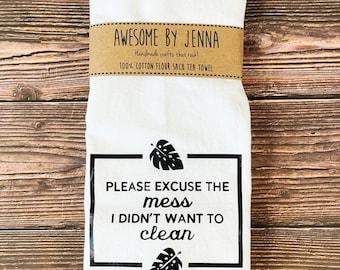 Handmade Clean The Mess Vinyl Tea Towel Kitchen Decor Cotton Towel Flour Sack Towel Kitchen Towel
