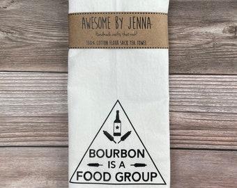 Handmade Bourbon Is A Food Group Vinyl Tea Towel Kitchen Decor Cotton Towel Flour Sack Towel Kitchen Towel