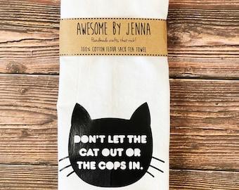 Handmade Cat/Cop Vinyl Tea Towel Kitchen Decor Cotton Towel Flour Sack Towel Kitchen Towel