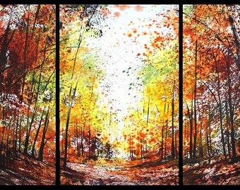 22x45 Triptych September 2021 no.3, original watercolor by Sumiyo Toribe