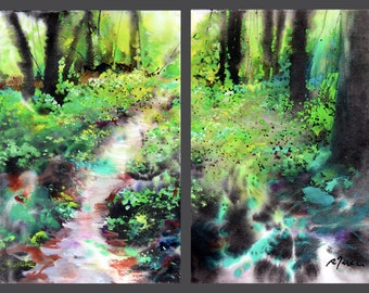 Diptych No.26 landscape, limited edition of 50 fine art giclee prints from my original watercolor and sumi-ink