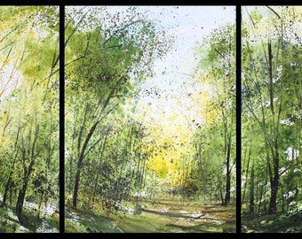 30x66 Large Triptych September 2021 no.3, original watercolor by Sumiyo Toribe