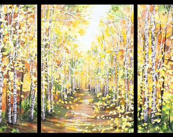 14x30 Triptych September 2021 no.2, original watercolor by Sumiyo Toribe