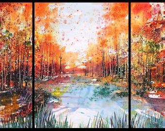 30x66 Large Triptych October 2021 no.1, original watercolor by Sumiyo Toribe