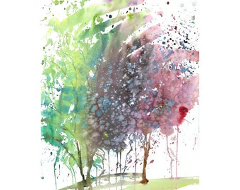 Grid series No.7 Spring Trees, 5 of  8, original watercolor with sumi ink