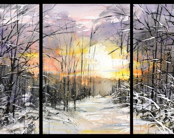 Triptych February 2021 no.4, limited edition of 50 fine art giclee prints from my original watercolor