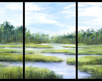 22x45 Triptych August 2021 no.1, original watercolor by Sumiyo Toribe