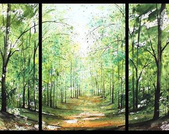 22x45 Triptych September 2021 no.2, original watercolor by Sumiyo Toribe