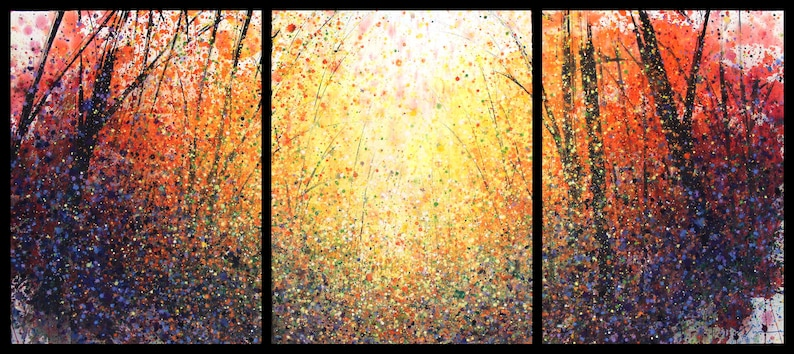 30x66 Large Triptych august 2017 no.1 original watercolor by image 0