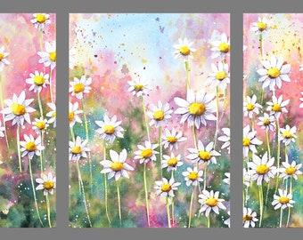7x15 Triptych October 2021 no.1, original watercolor by Sumiyo Toribe