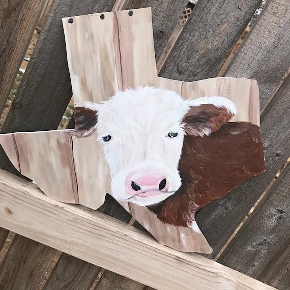 Texas Wood Sign Door Hanger With Cow Etsy