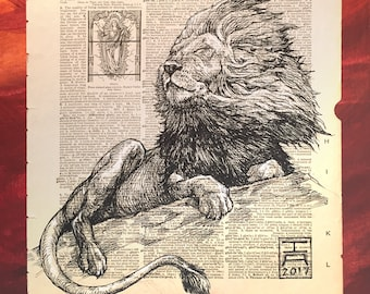 Basking Lion Illustration On Vintage Dictionary Page - Museum Quality Print