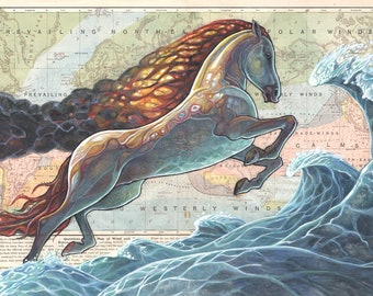 Flaming Mythical Stallion Painting on Map - Museum Quality Print