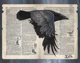Crow in Flight - Illustration on Vintage Dictionary Page - Museum Quality Giclée Print
