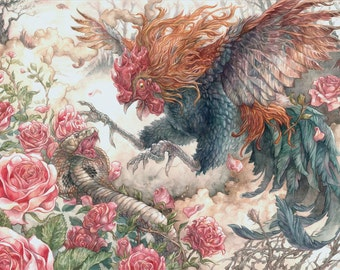 Rooster and Cobra Battle in Roses - Chinese Zodiac Museum Quality Giclée print