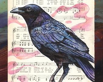 Crow Illustration on Sheet Music - Museum Quality Print