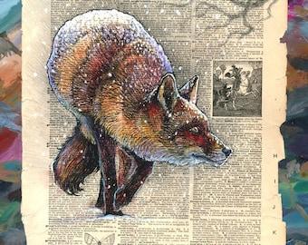 Fox in snowfall - wildlife art - museum quality print