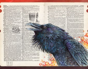 Raven Magic - Medieval Illustration on Dictionary Page - Museum Quality Giclee Print