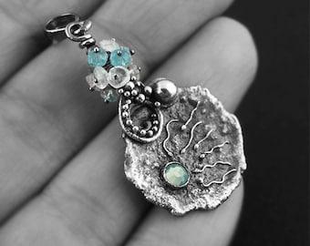 Fertility pendant - soldered, light blue, aquamarine, swarovski, spermatozoid, blue opal