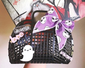 Plastic Jelly Bags, Trick or Treat Bag, Halloween Baskets, Reusable Gift Bags, 80s Retro Style, Plastic Purse for Girls, Made in USA