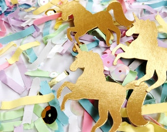 Unicorn Party, Gift for Girls, Confetti, Pastel Rainbow, Party Decor, Favors, Gold Unicorns, Unicorn Birthday, Kid Party, Unicorn Favor