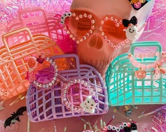 """Plastic Jelly Bags, 80s Retro Style, Plastic Purse for Girls, Party Favor Bags, 18"""" Doll Purse, Made in USA, Jelly Purse, Mini Jelly Bag"""