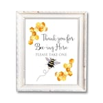 """Thank you for Bee-ing Here, Printable Sign, Bee Party Favor Sign, Birthday Bee, Bee Theme Party, Bee Baby Shower Decorations, 8""""x10"""" Digital"""