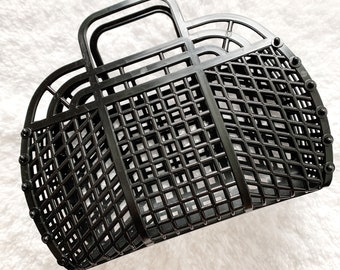 Large Black Halloween Trick or Treat Bags, Plastic Jelly Bags, Made in USA, Boo Baskets, Black Jelly Totes, Plastic Baskets