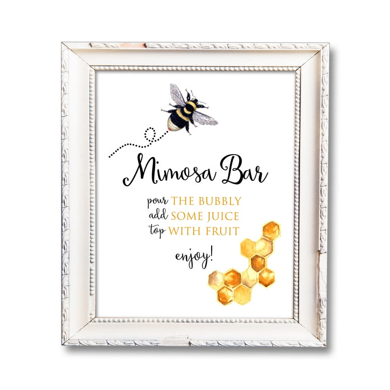 Mimosa Bar Sign Printable Bee Bridal Shower Decorations Bee image 0