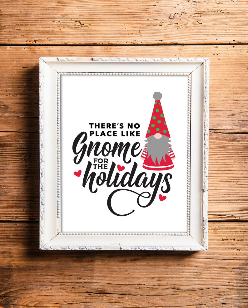 Scandinavian Christmas Gnome Sign No Place Like Gnome for the image 0