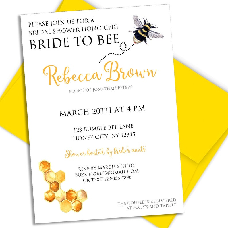Bee Bridal Shower Invitation Printable 5x7 Bride to Bee image 0