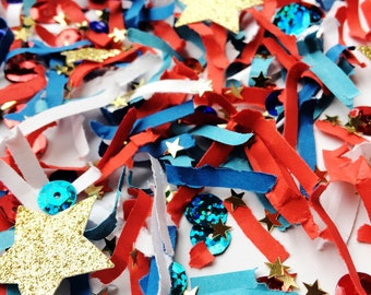 Fourth of July, Table Decor, Confetti, Hostess Gift, Fourth of July, Table Decorations, Gold Stars Die Cuts, Stars, 4th of July, Party Decor