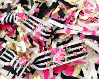 Bridal Shower Hair Tie Favors, To Have and To Hold Your Hair Back, Black, Hot Pink, Gold, Confetti, Bachelorette Party, Bridesmaid Gift