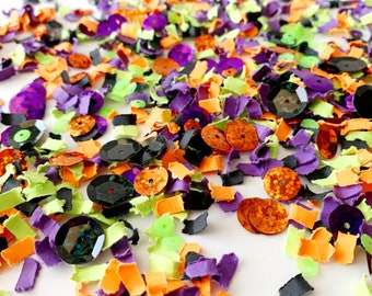 Halloween Party Confetti in Purple, Green, Orange, and Black with Black Cat and Spider Sequins