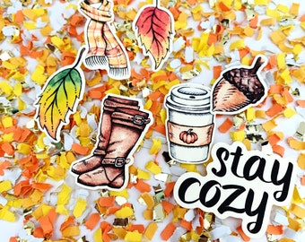 Fall Party Decorations, Fall Confetti, Fall Birthday Party Decor, Stay Cozy, Fall in Love Bridal Shower, Fall Coffee Decor