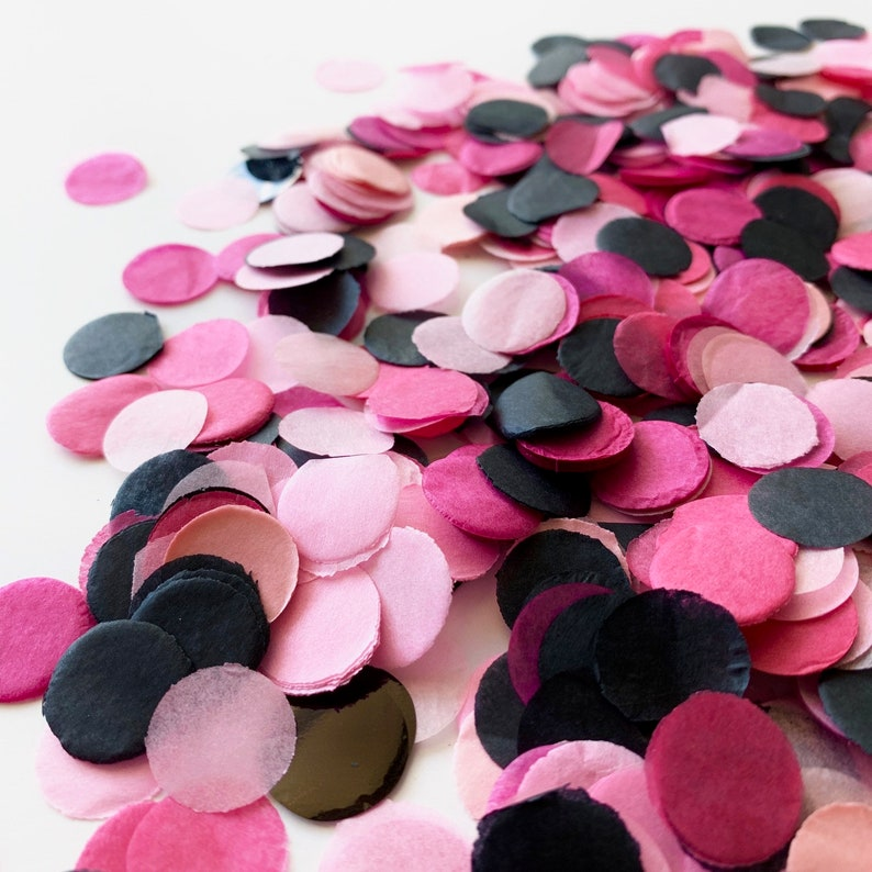 Modern Halloween Decor Hot Pink Black Tissue Paper Confetti image 0