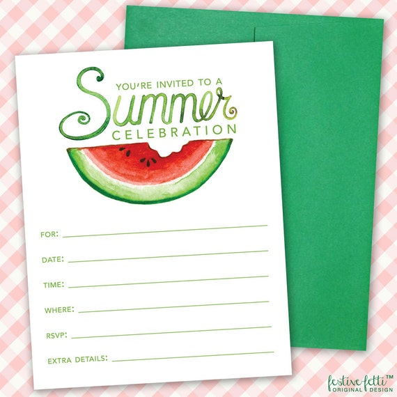 watermelon birthday party invitation summer party printable